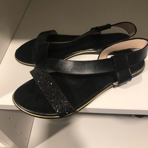 Shoes - Black Sandals with crushed black stones
